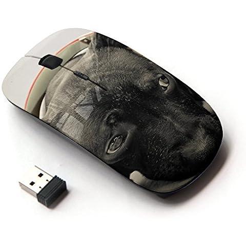 Peculiar-Star ( Plott Puppy Cane Corso Retriever ) Colorato stampato ultrasottile ottico senza fili 2.4Ghz mouse-Black