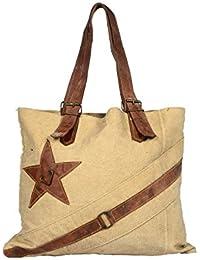 Priti Vintage Design Handbag Tote Bag Travel Bag In Washed Canvas Leather - B0791F96ZD