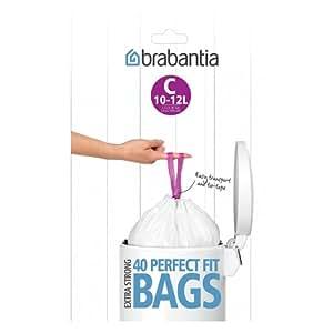 Brabantia Bin Liner, 10-12 L, Size C - 40 Bags