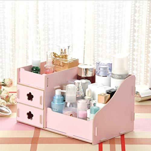 JIFNCR Kosmetische Aufbewahrungsbox Schmuckbehälter Make-Up Veranstalter Fall DIY Schublade Art Kosmetische Aufbewahrungsbox Kosmetik Make-Up Sammlung Organizer Desktop Box, Rosa