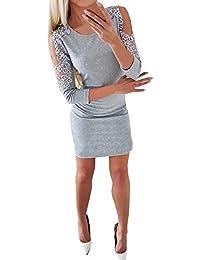 QinMM Vestido sin Tirantes de Encaje de Perlas para Mujer Vestido de cóctel Noche Fiesta Bodycon