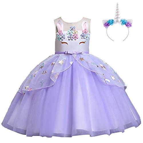 (IWEMEK Mädchen Einhorn Kleid Stirnband Karneval Halloween Kostüm Cosplay Fancy Dress up Kinder Tüll Tutu Prinzessin Kleid Geburtstag Weihnachten Party Festzug Ankleiden Lila 6-7 Jahre)