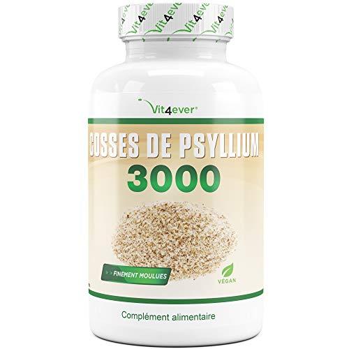 Cosses de psyllium - 360 gélules - 3000 mg par portion - 100% cosses de psyllium - finement moules - testé en laboratoire - Végan - qualité premiere - Psyllium Flohsamenschalen - Vit4ever