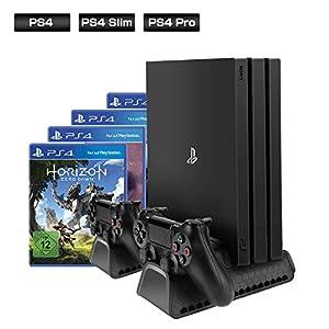 [Verbessert Ausführung] ieGeek Vertical Stand für PS4 / PS4 Pro / PS4 Slim, Dual Playstation Ladestation Standfuß mit 3 Kühler Lüfter, 12pcs Spiele-Disc-Halter Universal für PS4 / PS4 Slim / PS4 Pro