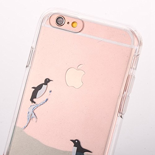 iPhone 6 Plus Hülle,iPhone 6S Plus Case,iPhone 6S Plus Silikon Cover - Felfy Ultra Dünne Slim Full Body Transparent Soft Gel TPU Silikon Rahmen mit Plastic Back Case Schöne Bunte Muster Design Case Rü Pinguin