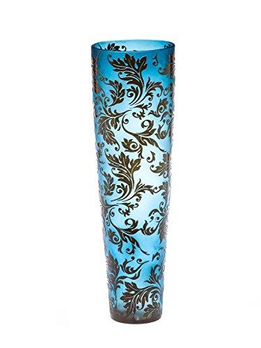 Glasvase Glas Blumen Vase Antik-Stil 50cm Bodenvase im Stil des Nancy Jugendstil