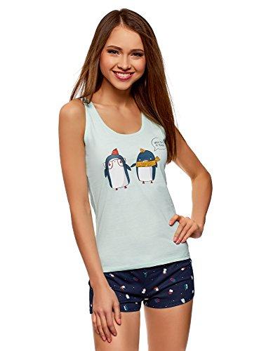 oodji Ultra Damen Baumwoll-Schlafanzug mit Pinguin-Muster, Grün, DE 38 / EU 40 / M (Pyjama-hose Pinguin)