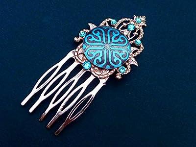 Peigne à cheveux étroit avec cabochon d'ornement en or rose turquoise