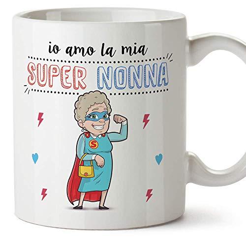 Mugffins Nonna Tazza/Mug -'Io Amo la Mia Super Nonna' - Idea Regalo Festa della Mamma/Tazza Migliore Nonna in Ceramica. 350 m