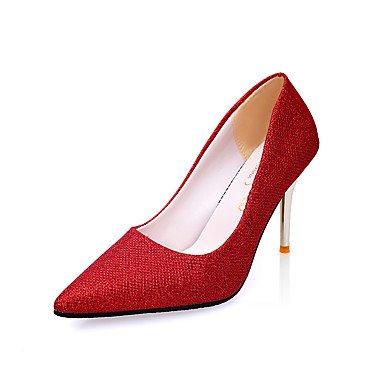 Les talons des femmes Printemps Été Automne Hiver Chaussures Club Bureau PU Confort & Carrière Robe de Soirée Partie & OthersBlack talon aiguille rouge rose Black