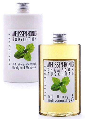 Pflegeset Melisse – Honig im 2er Set, Duschbad & Shampoo und Bodylotion mit echtem Bienenhonig und Mandelöl, Geschenkset 2 x 200ml