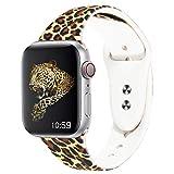Straper Correa Apple Watch 42mm Apple Watch Series 4 44mm Silicona Suave Correas Reloj Apple Watch Pulsera para iWatch Serie 3 Serie 2 Serie 1 Deportiva Nike Deportes Doble Estampado de Leopardo