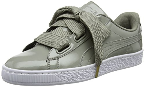 Puma Damen Basket Heart Patent Low-Top Sneaker, Grau (Rock Ridge), 40 EU (Premium-basketball-schuhe Low)