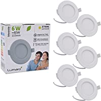 Lumaro© LED Spot à Encastrer Extra Plat 6W 450lumen 230V IP44 Blanc chaud pour salle de bain et salon Spot rond pièce de bain avec 6 pièce
