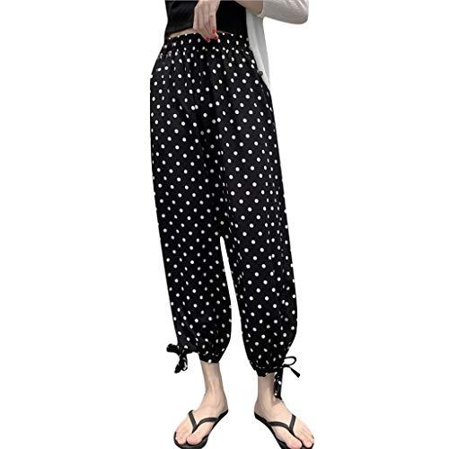 Dtuta Bekleidung Damen Sommer,Hosen Damen Billig, Hohe Taille Welle Streifen Gestreifte Elastische Pluderhosen Wilde Freizeit Urlaub Am Meer Mode Einfach