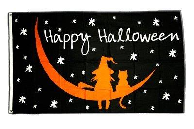 Fahne / Flagge Happy Halloween Mondnacht + gratis Sticker, Flaggenfritze®