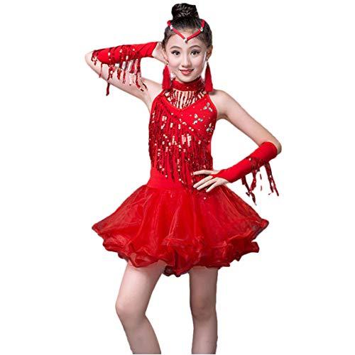 Gaga city Mädchen Latein Kleid Pailletten Dance Kleid Kinder Tanzkleid Leistung Wettbewerb Dancewear