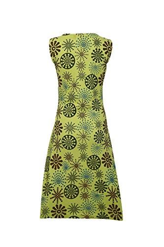 Robe sans manches d'été des femmes avec des fleurs motif imprimé et broderie green