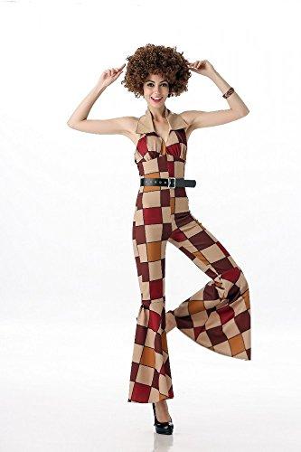 Vintage Disco Girl 70er Jahre Damen Kostüm mit Flickenmuster Retro Overall mit Schlag, Größe:XS