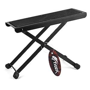 Tiger Adjustable Folding Guitar Footstool - Black