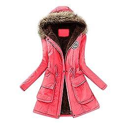 JURTEE Damen Winterjacke,Wintermantel Lange Daunenjacke Jacke Outwear Winter Warm Trenchcoat mit Abnehmbarer Pelzkragen Parka Outwear Mäntel (3XL, Z-1 Wassermelonen Rot)