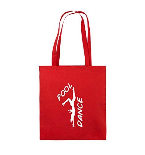 Comedy Bags - POOL DANCE - FIGUR - Jutebeutel - lange Henkel - 38x42cm - Farbe: Schwarz / Pink Rot / Weiss