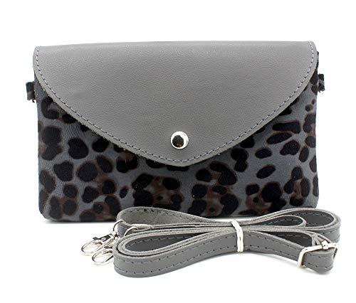Dielay Damen Tasche Leopard - Kunstleder - 21,5 x 13,5 cm (Grau) - Hat Womens Leopard