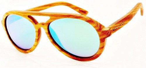 WOO LANDO - Green Zebra Race - Unisex Edelholz-Sonnenbrille aus tropischem Zebraholz, grün verspiegelte Gläser & polarisiert