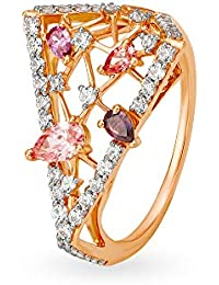 Mia by Tanishq 14KT Rose Gold and Cubic Zirconia Ring for Women