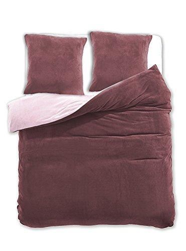 200x220 cm Bettwäsche mit 2 Kissenbezügen 80x80 Mikrofaser Weich Warm Winter Kuschelig Bettbezug Bettwäschegarnitur braun beige brown Furry (Bettwäsche Chinchilla)