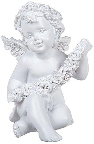 (Out of the Blue Sitzender Polyresin Engel mit Rosenblütenkranz-Dekor und Rosengirlande, Weiß, 15 x 10 cm, 1 Einheiten)