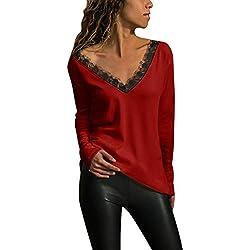 Luckycat Camiseta de Las Mujeres Otoño Invierno Color Sólido Tallas Grandes Manga Larga Camisas Cuello en V Básica Blusas Casual Deporte Pullover Fiesta Hermoso Tops con Encaje