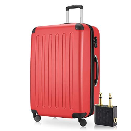 Hauptstadtkoffer - Spree Hartschalen-Koffer-XL Koffer Trolley Rollkoffer Reisekoffer Erweiterbar, 4 Rollen, TSA, 75 cm, 119 Liter, Rot +Flugzeug Audio Adapter