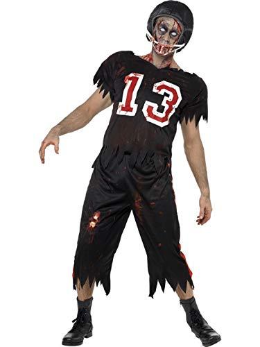 n Männer Kostüm blutiger Zombie Horror High School Football Rugby Spieler mit Hose Oberteil und Helm, perfekt für Halloween Karneval und Fasching, M, Schwarz ()