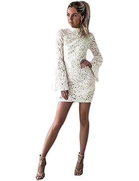 Vestido largo Amlaiworld Mujeres de encaje de manga larga mini vestido (Tamaño:XL, Blanco)