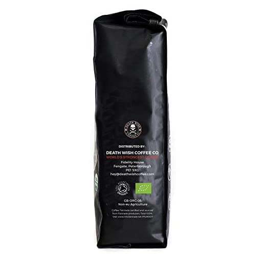 Death Wish Whole Bean Coffee, The World's Strongest Coffee, Fair Trade and Certified Organic (1 Kilo)