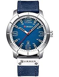 Reloj de Hombre Cinturón de Cuarzo Resistente al Agua Reloj de Hombre de Negocios Informal Blanco