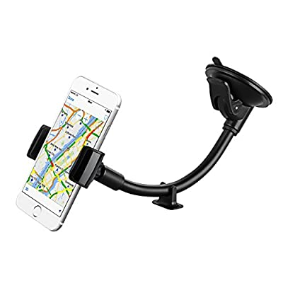 Car Phone Holder, Mpow Windshield 8.66 Inches LongArm Mobile Car Cradle Windscreen Car Mount Grip Universal Phone Holder with Support from Dashboard, Compatible for iPhone 7 6S 6 5s 5, LG, Samsung S6 S5 Note 5 4, Google Nexus 5, HTC and Others and GPS