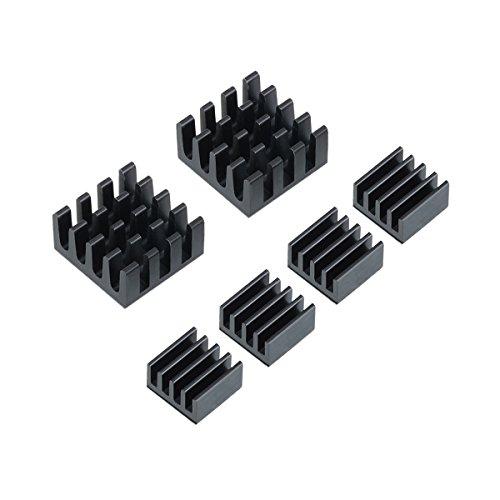 LOMATEE 6er Raspberry Kühlkörper Aluminium Kühler Set für Raspberry Pi 3, Pi 2, Pi Modell A, B, B +
