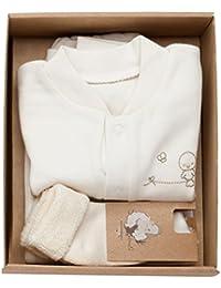 The Dida World Narinan - Conjunto 3 piezas de algodón orgánico, bordado pajarito, talla 1-3 meses, color beige