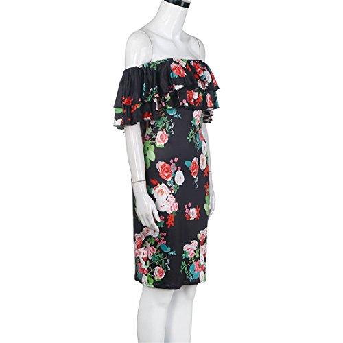 Malloom® Minikleid Damen Frauen Sommer Boho Polyester weg vom Schulter-Blumendruck-Kleid Schwarz