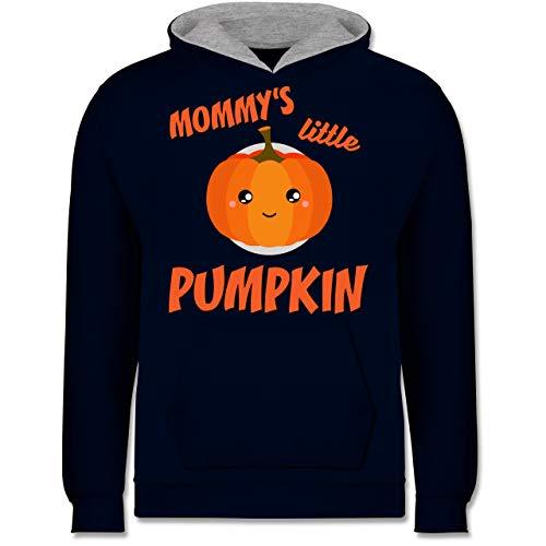 Shirtracer Anlässe Kinder - Mommys Little Pumpkin Halloween - 7-8 Jahre (128) - Navy Blau/Grau meliert - JH003K - Kinder Kontrast Hoodie (Halloween 7 Zwerge)