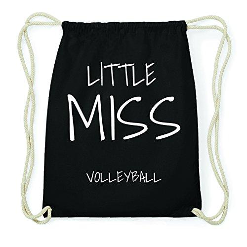 JOllify VOLLEYBALL Hipster Turnbeutel Tasche Rucksack aus Baumwolle - Farbe: schwarz – Design: Little Miss - Farbe: schwarz (Baumwolle-volleyball)