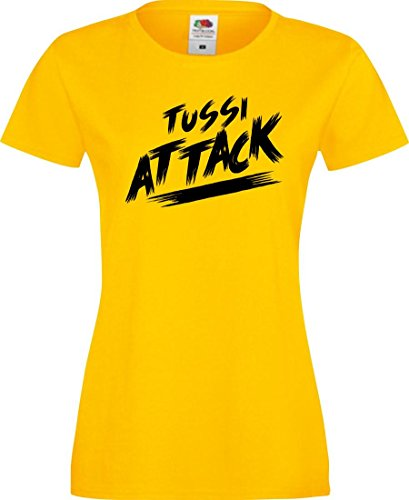 Shirtinstyle Lady T-Shirt Tussi Attack,gelb, XS