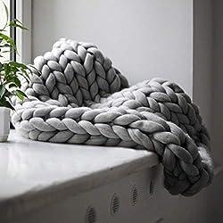 Manta de punto grueso, hecho a mano colcha de ganchillo de punto, caliente manta de invierno Sofá Cover, grueso hilo de punto Manta edredón para la cama, sala de estar, Yoga, 100x120cm Alfombra