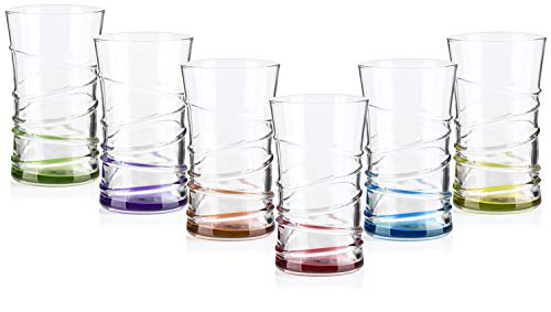 COM-FOUR® 6 Trinkgläser im stilvollen modernen Design, spülmaschinenfest (Design 1-06 Stück) - Gläser Trink Wasser