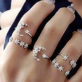 Deniferymakeup - Anillo de plata vintage con diamantes de imitación, anillo abierto para mujer, anillo de estrella, juego de 5