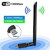 Wifi USB Adaptador, Antena Wifi USB Inalámbrico Dual Band 2.4G / 5.8G 802.11 ac WiFi Dongle con Antena de 5dBi Receptor Soporte Windows 10/8/8.1/7/Vista/XP/2000,Mac OS 10.4-10.12