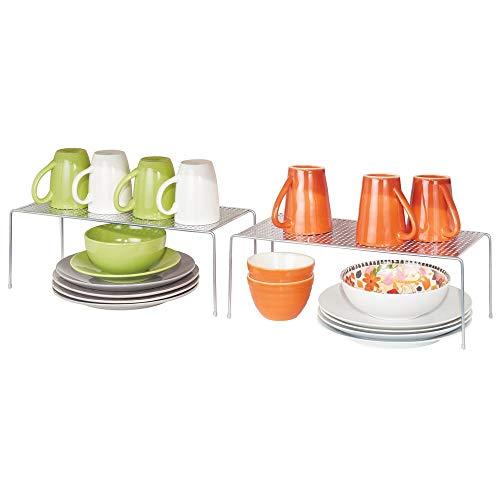 mDesign Set da 2 Mensole porta piatti per la cucina - Ripiano antiscivolo in metallo - Scolapiatti da appoggio per tazzine e utensili - argento