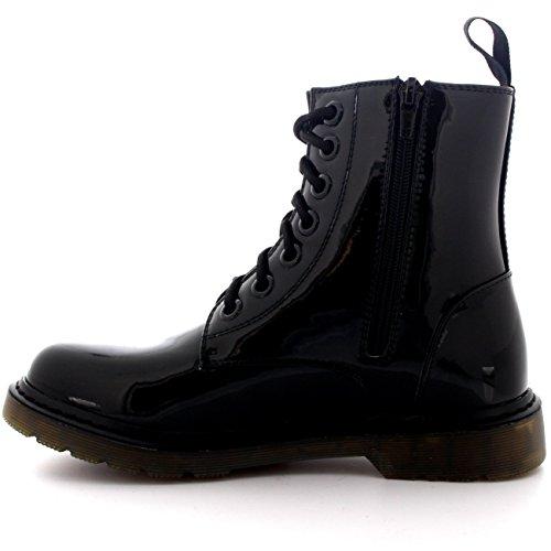 Femmes Militaire Cru Armée Lacer Goth Chaussures Plates Roche Bottes Noir Brevet
